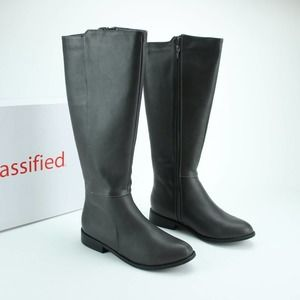 Gray Vegan Faux Leather Riding Boot Knee High